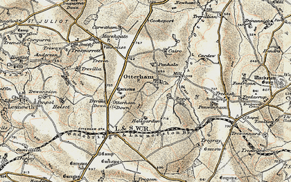 Old map of Otterham in 1900