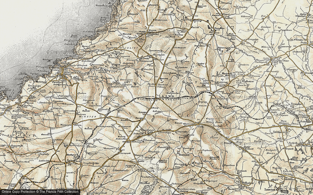 Old Map of Historic Map covering Tich Barrow in 1900