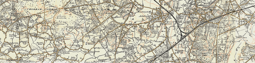 Old map of Ottershaw in 1897-1909