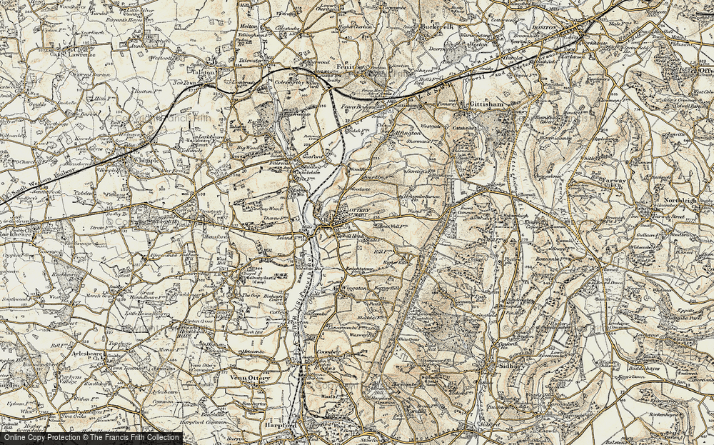 Old Map of Ottery St Mary, 1898-1900 in 1898-1900