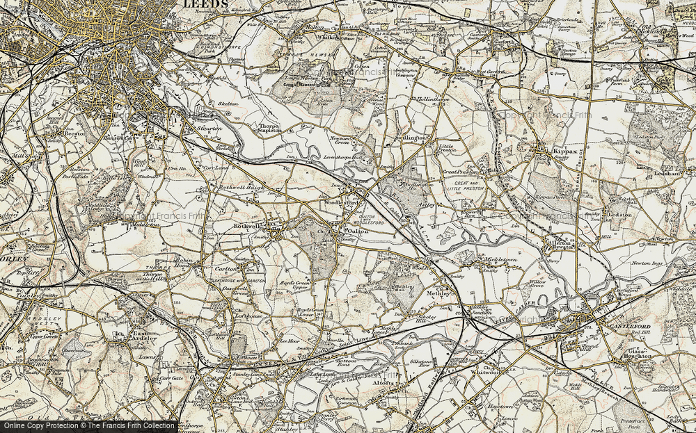 Old Map of Historic Map covering Aire & Calder Navigation in 1903