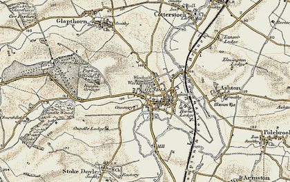 Old map of Oundle in 1901-1902