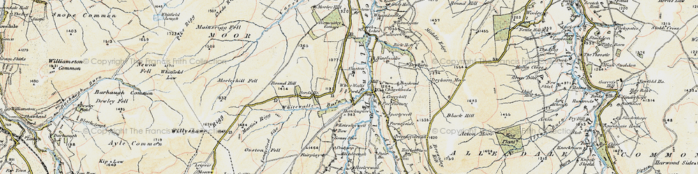Old map of Whitewalls Burn in 1901-1904
