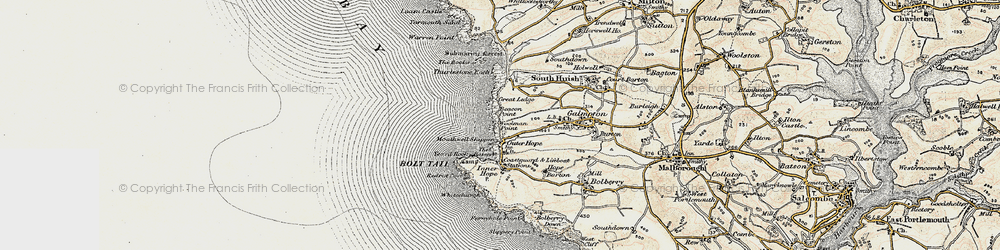 Old map of Thurlestone Rock in 1899-1900