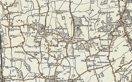 Old map of Outwood in 1898-1902