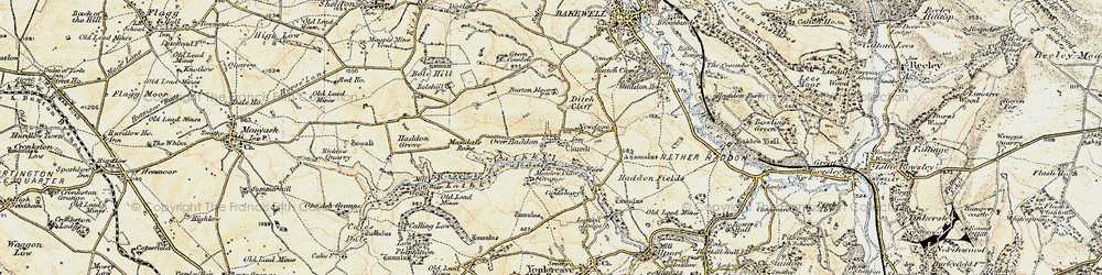 Old map of Over Haddon in 1902-1903