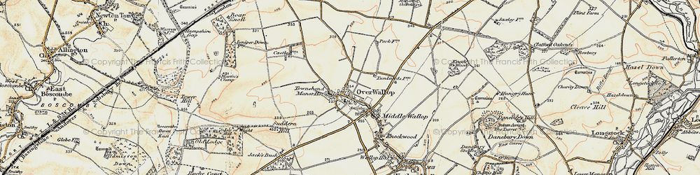 Old map of Over Wallop in 1897-1899