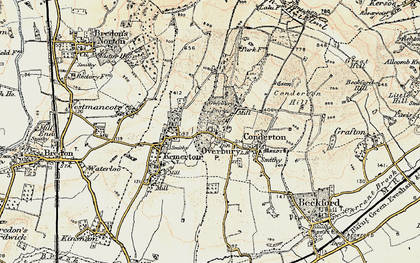 Old map of Overbury in 1899-1901