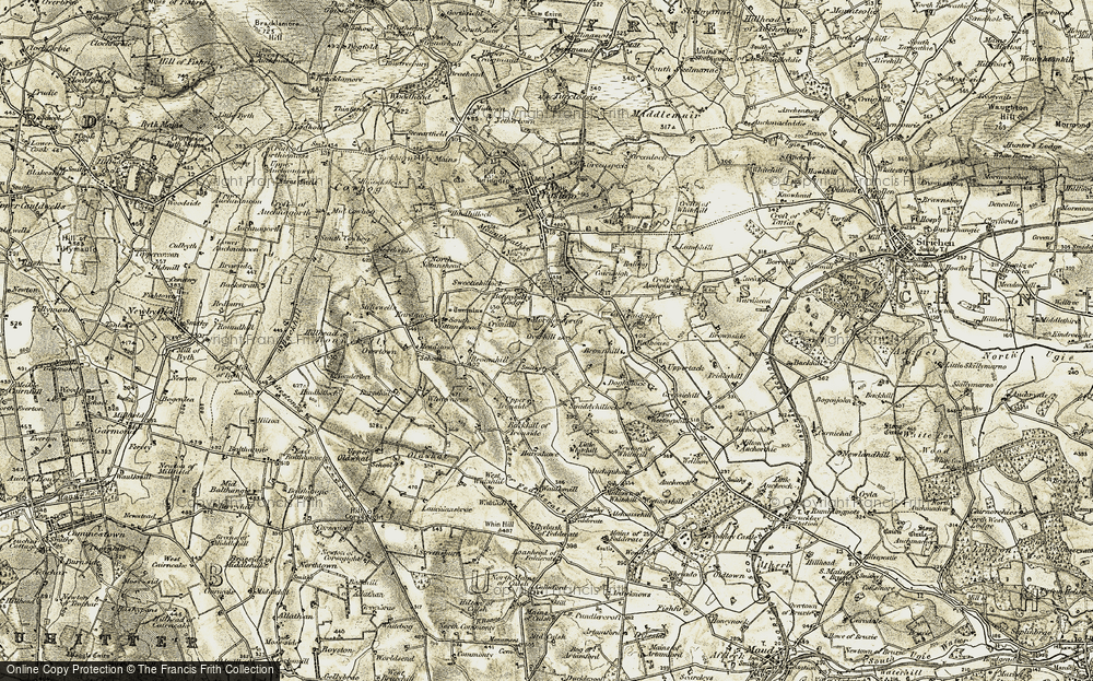 Old Map of Historic Map covering Affath in 1909-1910