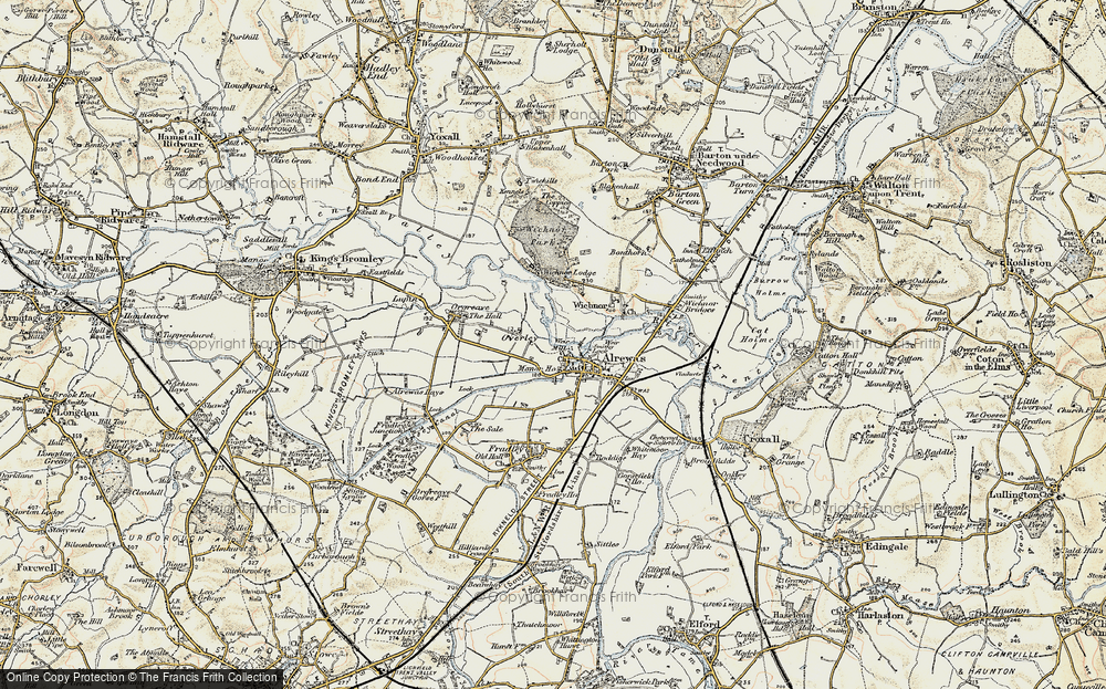 Old Map of Historic Map covering Wychnor Park in 1902