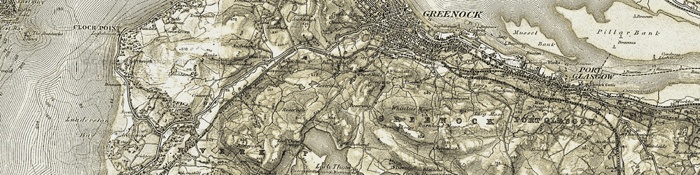 Old map of Whitelees Cottage in 1905-1907