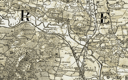 Old map of Woodlands in 1909-1910