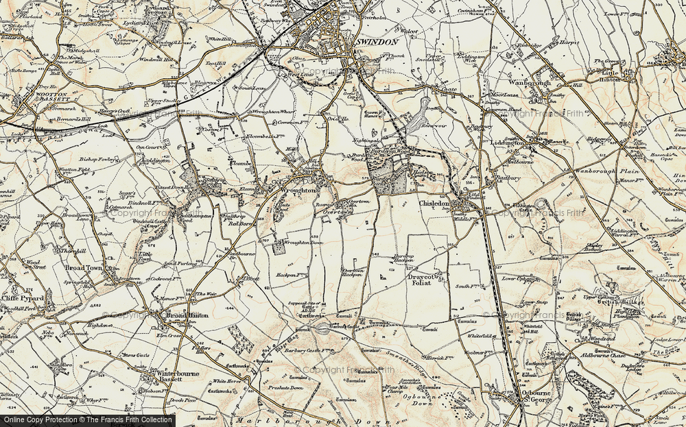 Old Map of Historic Map covering Barbury Castle Country Park in 1897-1899