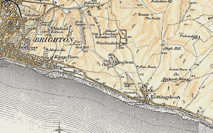 Old map of Wick Bottom in 1898
