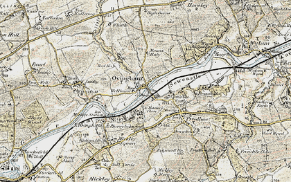 Old map of Ovingham in 1901-1904