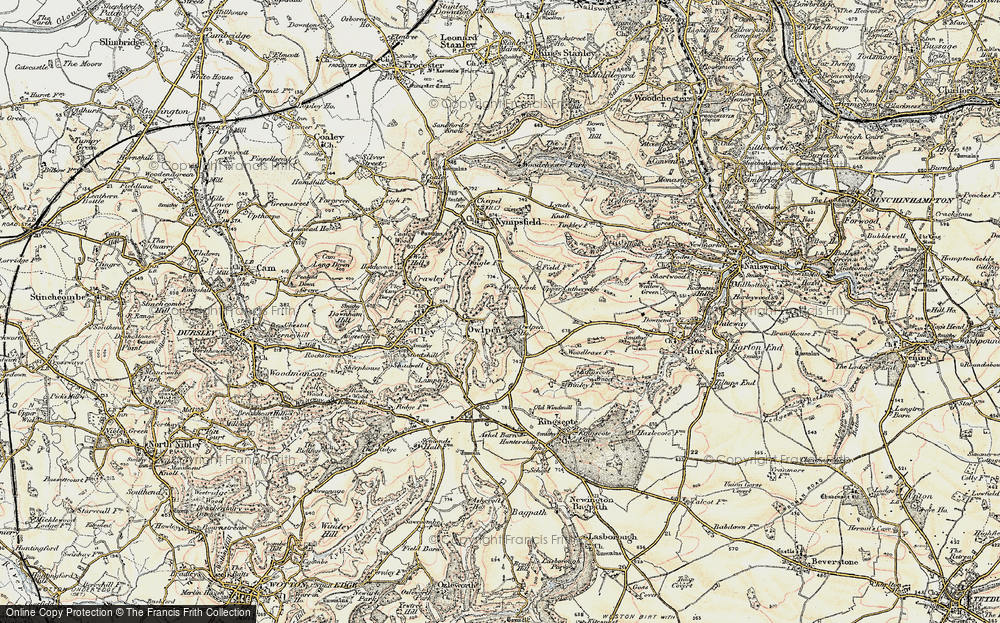 Old Map of Historic Map covering Woodcock in 1898-1900