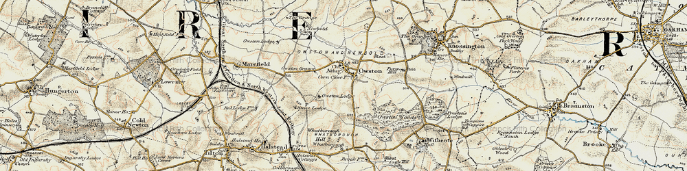 Old map of Whatborough Hill in 1901-1903