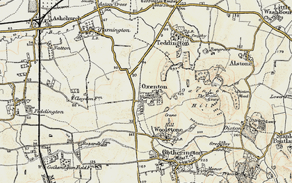 Old map of Woolstone Hill in 1899-1900