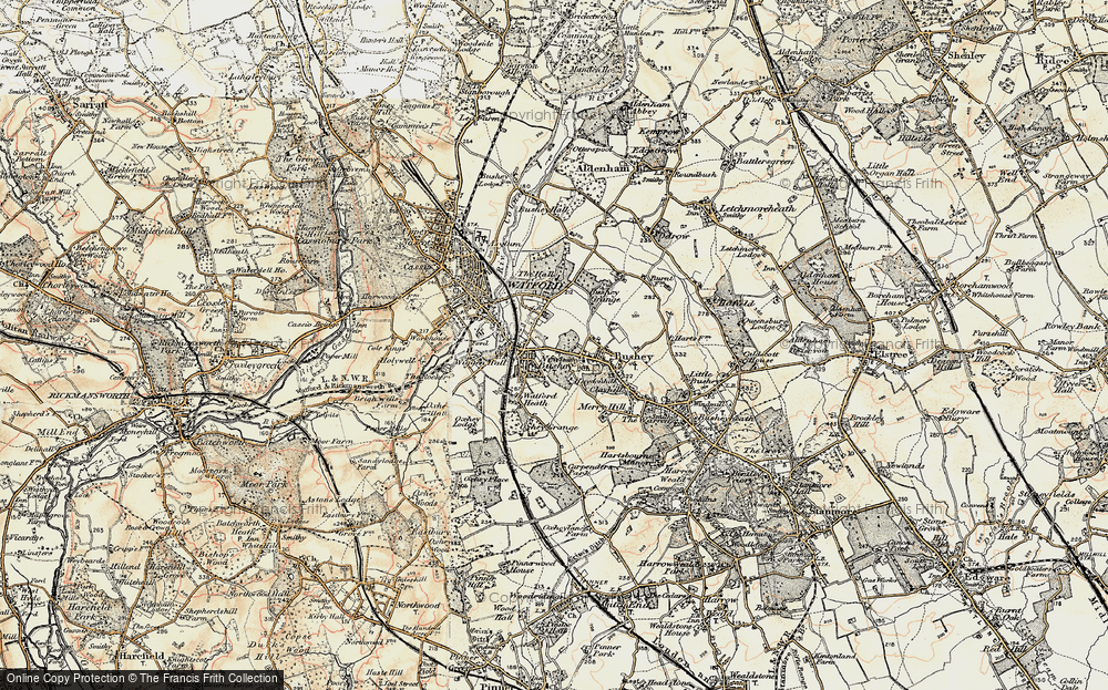 Old Map of Oxhey, 1897-1898 in 1897-1898