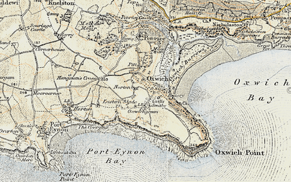 Old map of Oxwich in 1900-1901