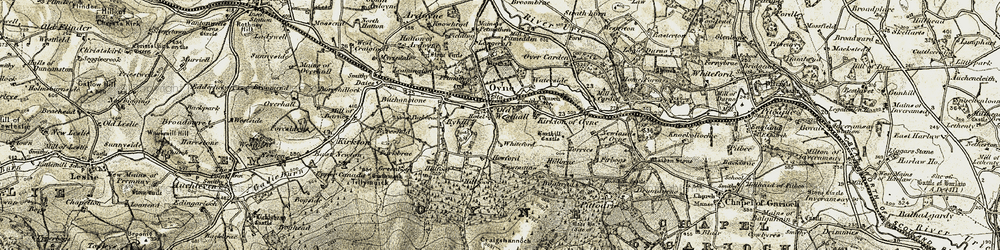 Old map of Oyne in 1908-1910