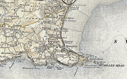 Old map of Oystermouth in 1900-1901