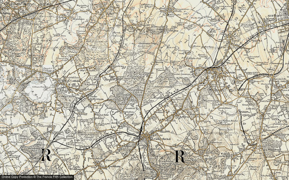 Old Map of Historic Map covering Ashtead Common in 1897-1909