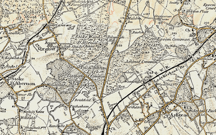 Old map of Ashtead Common in 1897-1909
