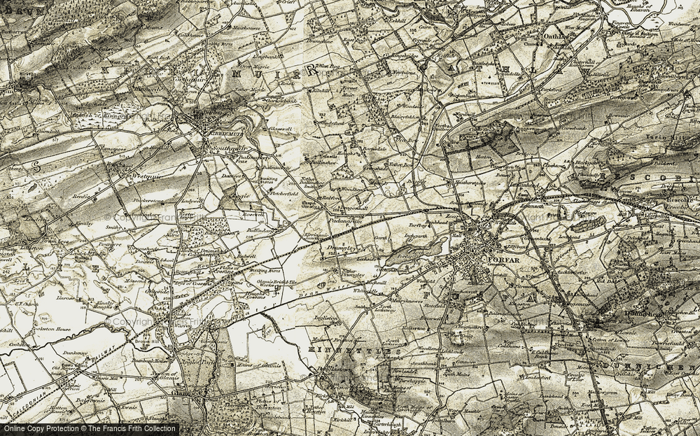 Old Map of Historic Map covering Ballinshoe Smithy in 1907-1908