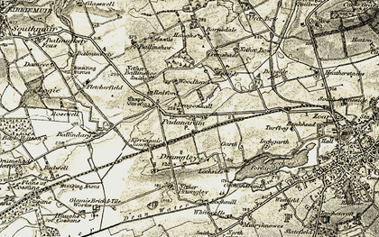 Old map of Woodside in 1907-1908