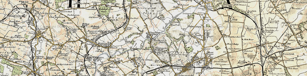 Old map of Whitworth Hall Country Park in 1901-1904