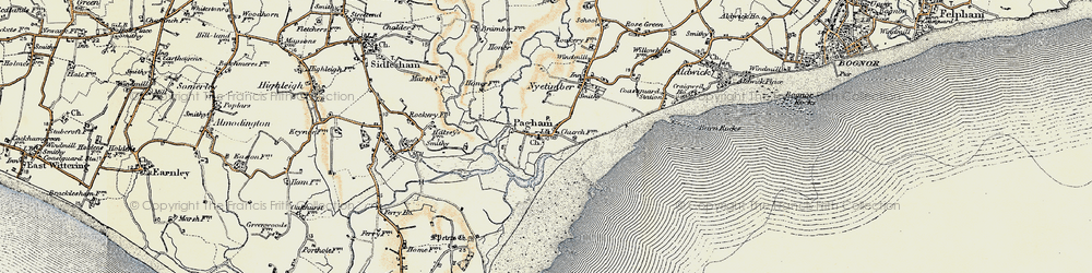 Old map of Pagham in 1897-1899