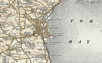Old map of Paignton in 1899