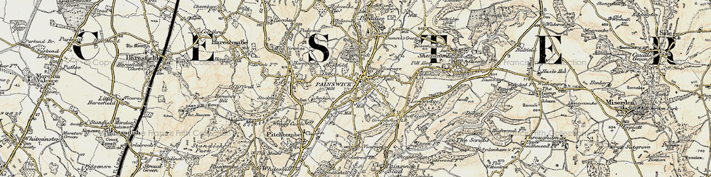 Old map of Painswick in 1898-1900