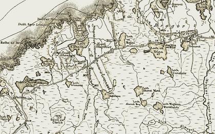 Old map of Abhainn Shiaboist in 1911