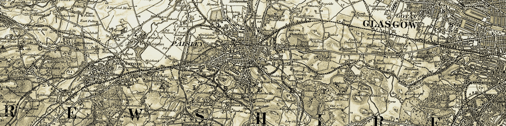 Old map of Paisley in 1905-1906