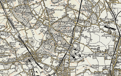 Old map of Palmers Green in 1897-1898