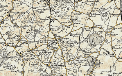 Old map of Pamber End in 1897-1900