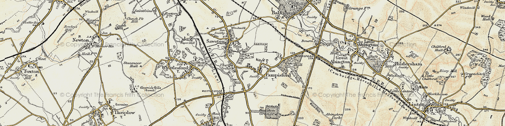 Old map of Whittlesford Parkway Sta in 1899-1901