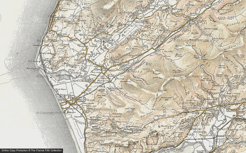 Old Map of Historic Map covering Afon Cwm-pandy in 1902-1903