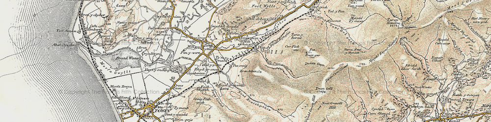 Old map of Afon Cwm-pandy in 1902-1903