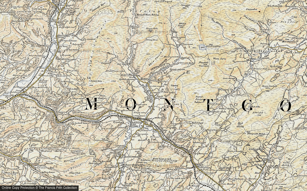 Old Map of Historic Map covering Afon Rhiw Saeson in 1902-1903