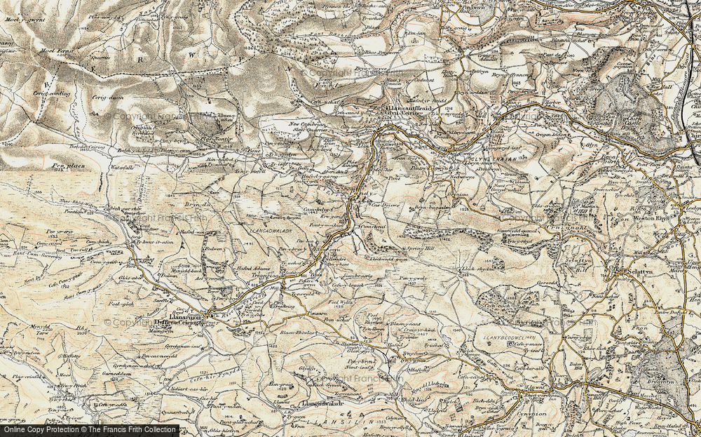 Old Map of Historic Map covering Aberwiel in 1902-1903