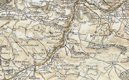 Old map of Aberwiel in 1902-1903