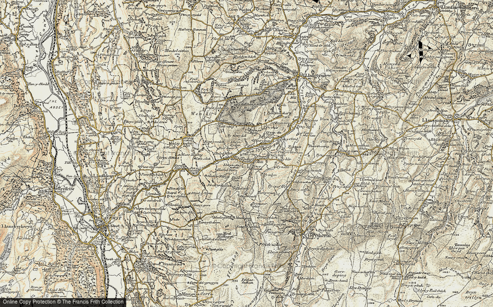 Old Map of Historic Map covering Afon Derfyn in 1902-1903