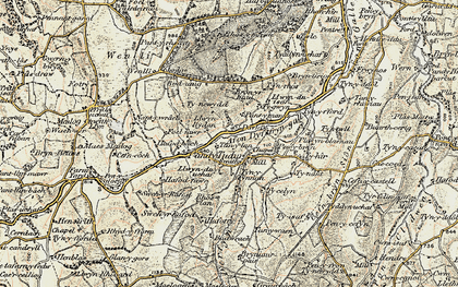 Old map of Afon Dyffryn-gall in 1902-1903