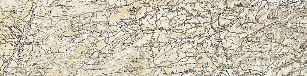 Old map of Aberclawdd in 1902-1903