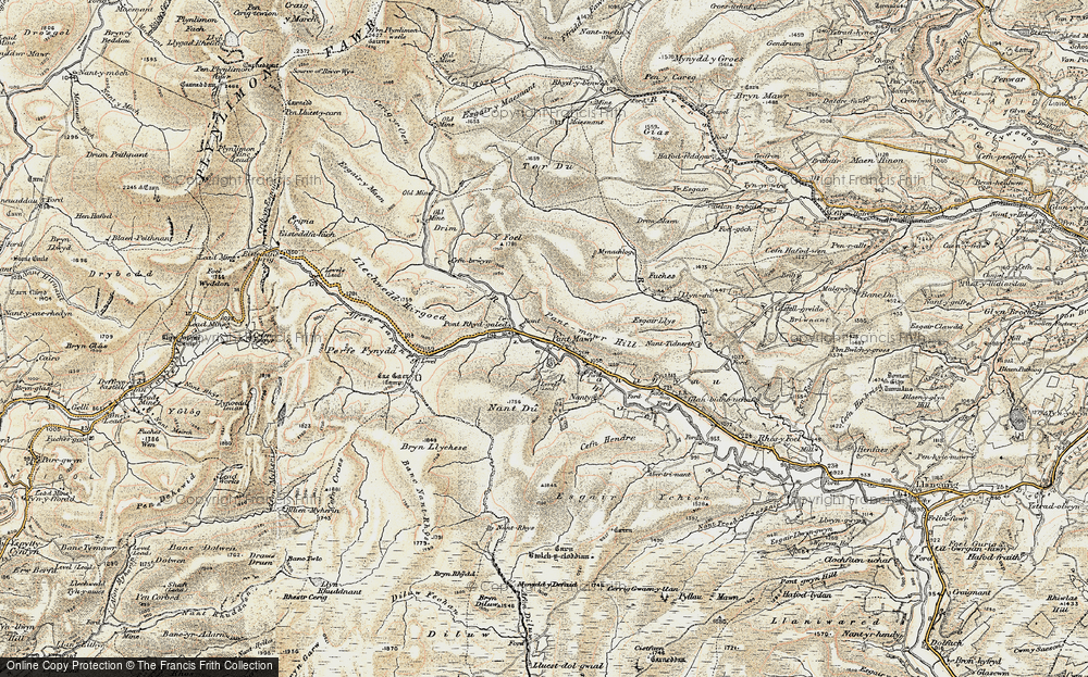 Old Map of Historic Map covering Allt Pant-mawr in 1901-1903