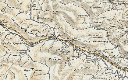Old map of Allt Pant-mawr in 1901-1903