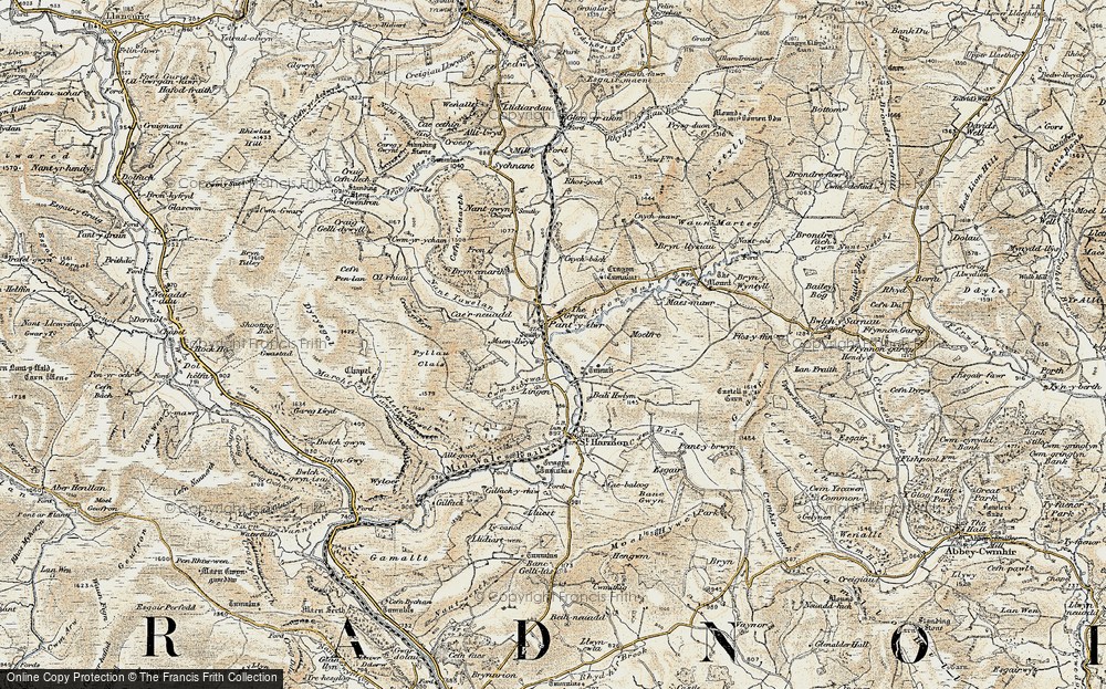 Old Map of Historic Map covering Afon Marteg in 1901-1903